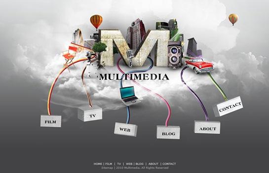 Multimedia Website Layout photoshop 3d tutorials