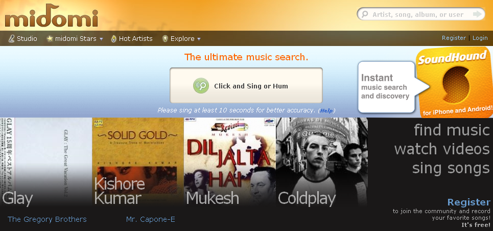 midomi - search your music track by singing or humming