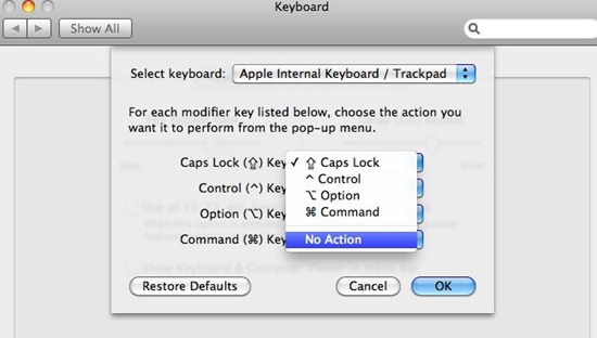 disable caps lock on macosx 1