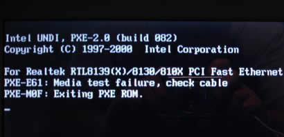 pxe-e61-media-test-failure error
